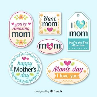 Colección de etiquetas del día de la madre en diseño plano