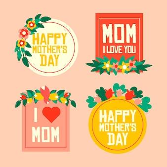 Colección de etiquetas de día de la madre de diseño plano