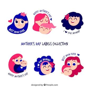 Colección de etiquetas del día de la madre