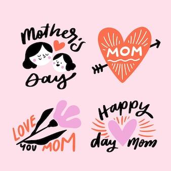 Colección de etiquetas con el día de la madre