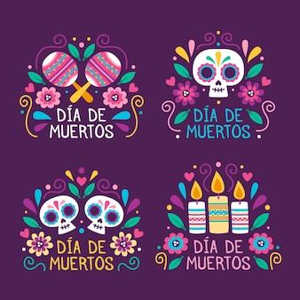 Colección de etiquetas día de muertos en diseño plano