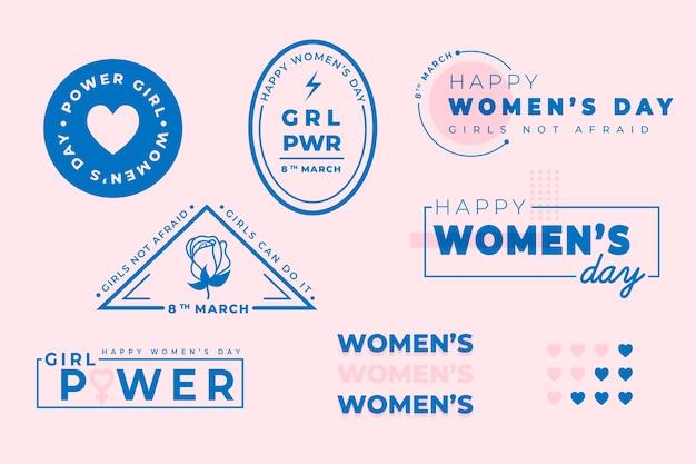 Colección de etiquetas del día de la mujer dibujadas a mano
