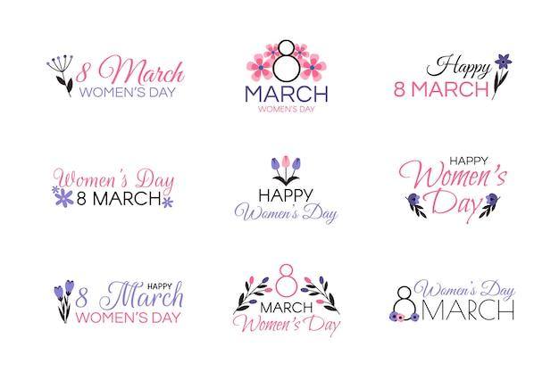 Colección de etiquetas del día de la mujer