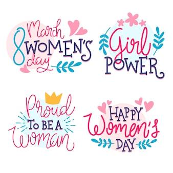 Colección de etiquetas del día de las mujeres con letras