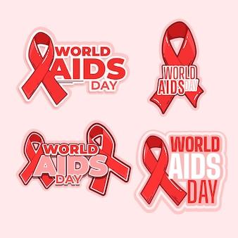 Colección de etiquetas del día mundial del sida