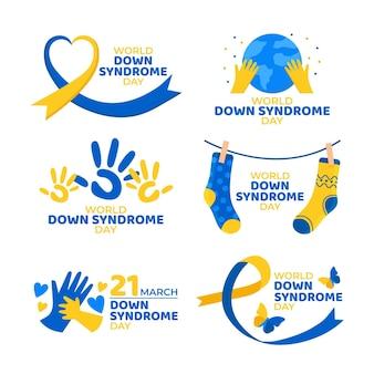 Colección de etiquetas del día mundial del síndrome de down