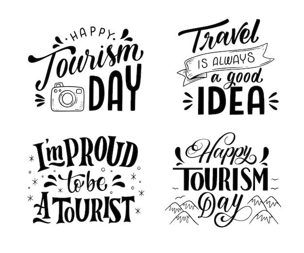 Colección de etiquetas del día mundial del turismo dibujadas a mano