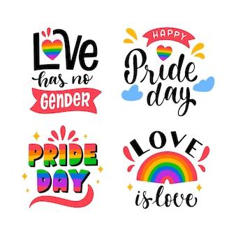 Colección de etiquetas del día del orgullo dibujadas a mano