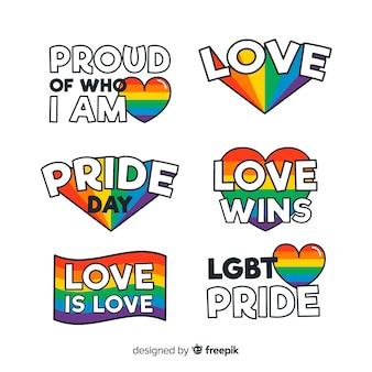 Colección de etiquetas del día del orgullo lgbt en diseño plano