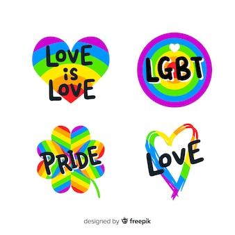 Colección de etiquetas de día del orgullo lgbt
