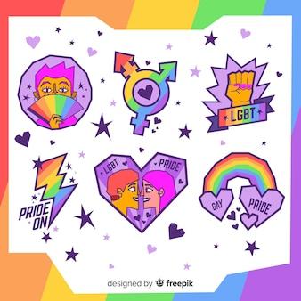 Colección de etiquetas del día del orgullo lgbt