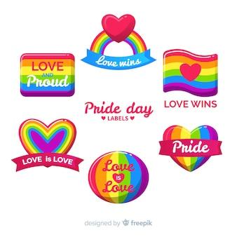 Colección de etiquetas del día del orgullo