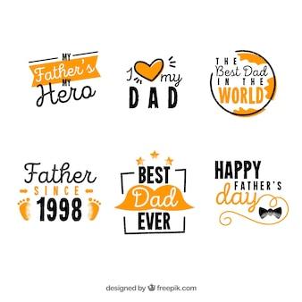 Colección de etiquetas para el día del padre dibujados a mano
