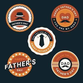 Colección de etiquetas de día del padre de diseño plano