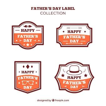 Colección de etiquetas de día del padre en estilo plano