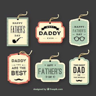 Colección de etiquetas de día del padre en estilo vintage