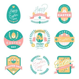 Colección de etiquetas del día de pascua en diseño plano