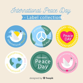 Colección de etiquetas del día de la paz