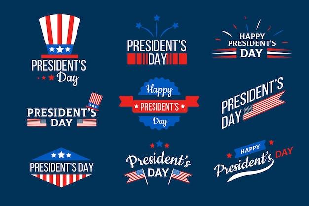 Colección de etiquetas del día de los presidentes