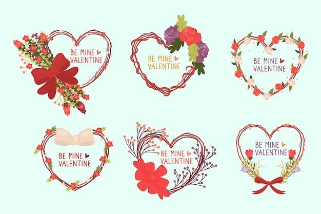 Colección de etiquetas del día de san valentín dibujadas a mano