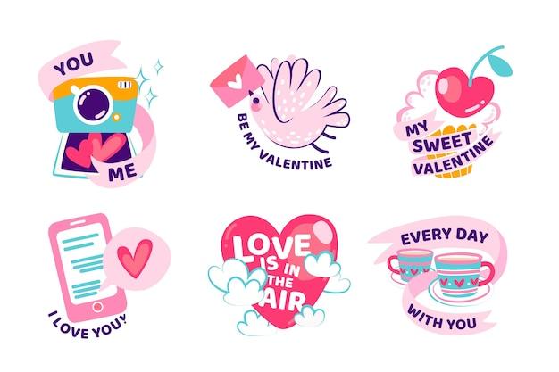 Colección de etiquetas de día de san valentín dibujado a mano