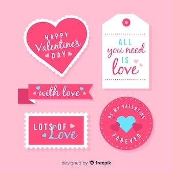 Colección de etiquetas del día de san valentin