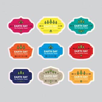 Colección de etiquetas del día de la tierra