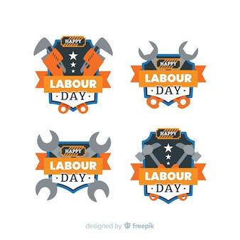 Colección de etiquetas del día del trabajador en diseño plano