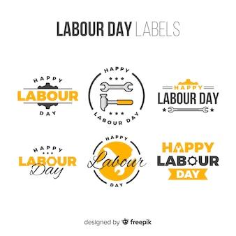 Colección de etiquetas del día del trabajador