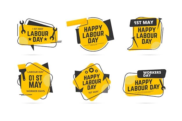 Colección de etiquetas del día del trabajo