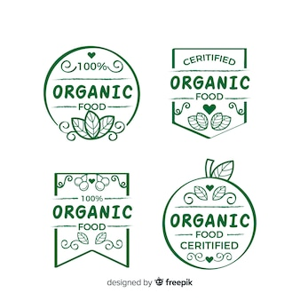Colección etiquetas dibujadas a mano comida orgánica