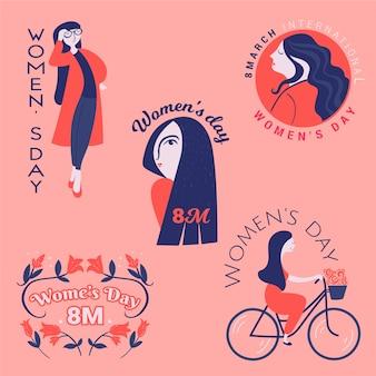 Colección de etiquetas dibujadas a mano con el día de la mujer