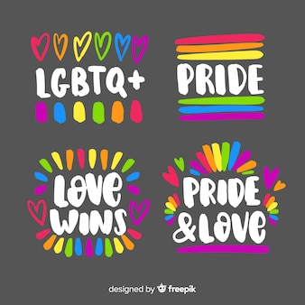 Colección etiquetas dibujadas a mano día del orgullo