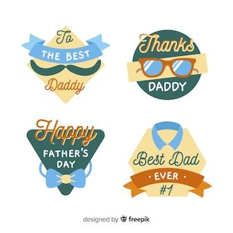 Colección de etiquetas dibujadas a mano del día del padre