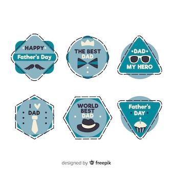 Colección de etiquetas dibujadas a mano para el día del padre