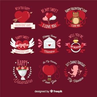 Colección etiquetas dibujadas a mano san valentín