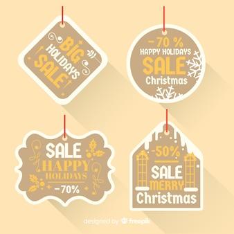 Colección etiquetas diferentes formas rebajas navidad