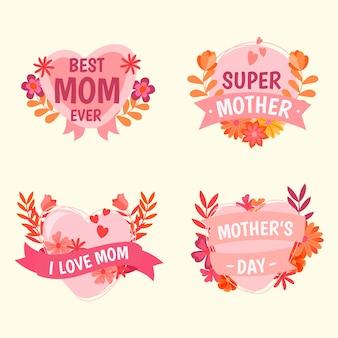 Colección de etiquetas con diseño del día de la madre
