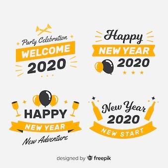 Colección de etiquetas de diseño plano año nuevo