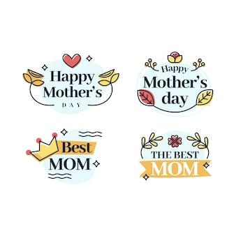 Colección de etiquetas de diseño plano para el día de la madre