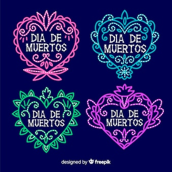 Colección de etiquetas diseño plano día de muertos