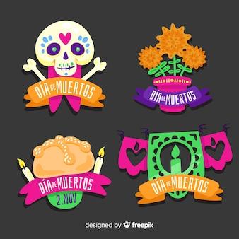 Colección de etiquetas de diseño plano dia de muertos