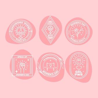 Colección de etiquetas de diseño plano con el día de la mujer
