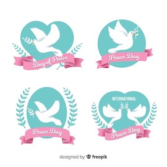Colección de etiquetas de diseño plano día de la paz