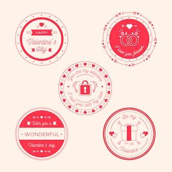 Colección de etiquetas de diseño plano para el día de san valentín
