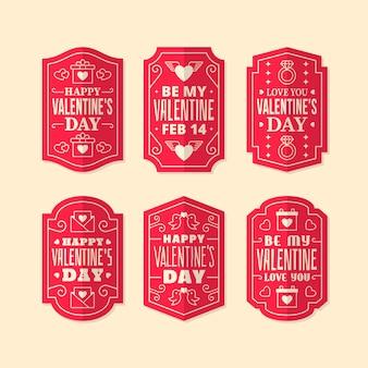 Colección de etiquetas de diseño plano del día de san valentín