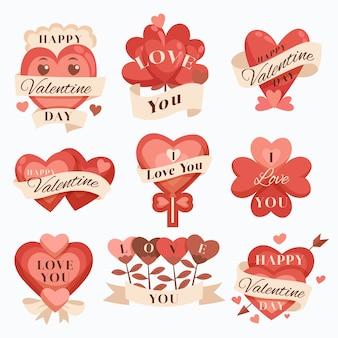 Colección de etiquetas / distintivos del día de san valentín