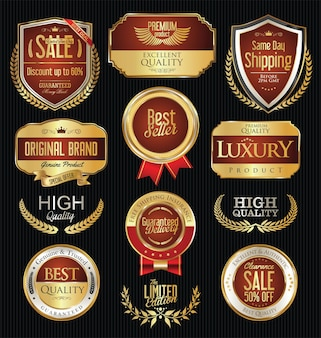 Colección de etiquetas y distintivos dorados