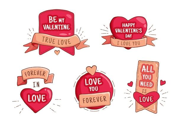 Colección de etiquetas / distintivos de san valentín