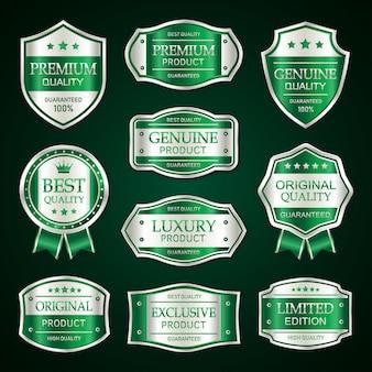Colección de etiquetas y distintivos vintage premium verde y plata